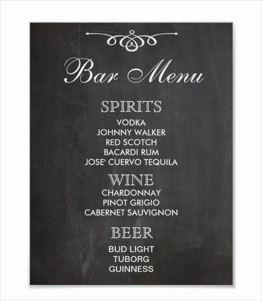 24 Bar Menu Templates – Free Sample Example format
