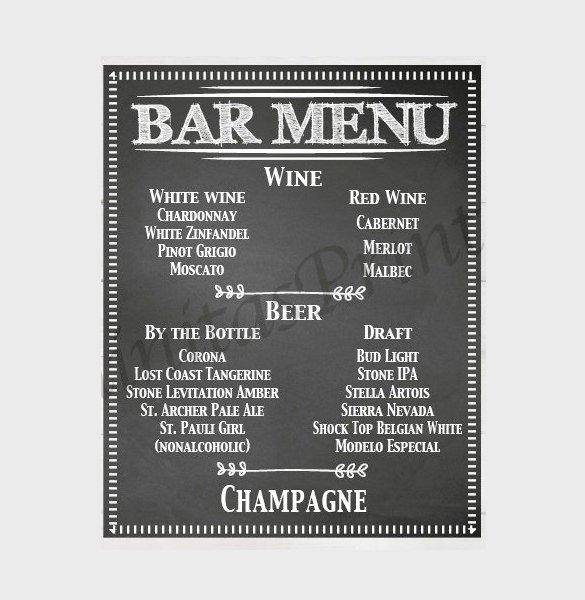 24 Bar Menu Templates – Free Sample Example format