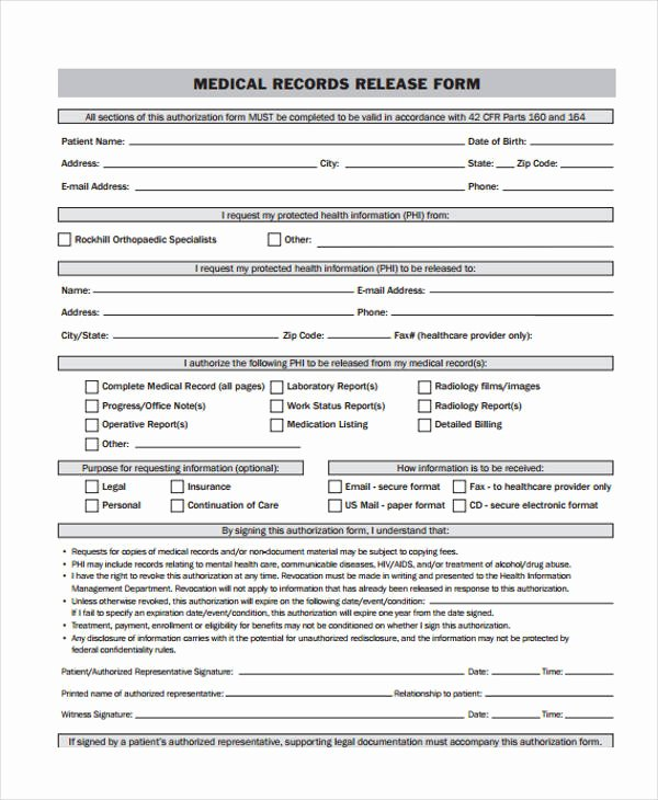 24 Medical Release form Templates