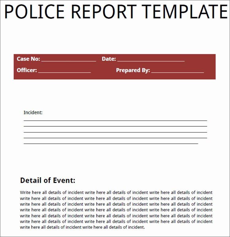 24 Printable Police Report Templates Free Pdf Word formats