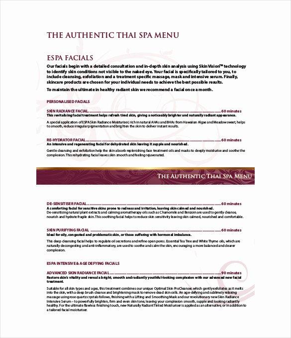 sample spa menu