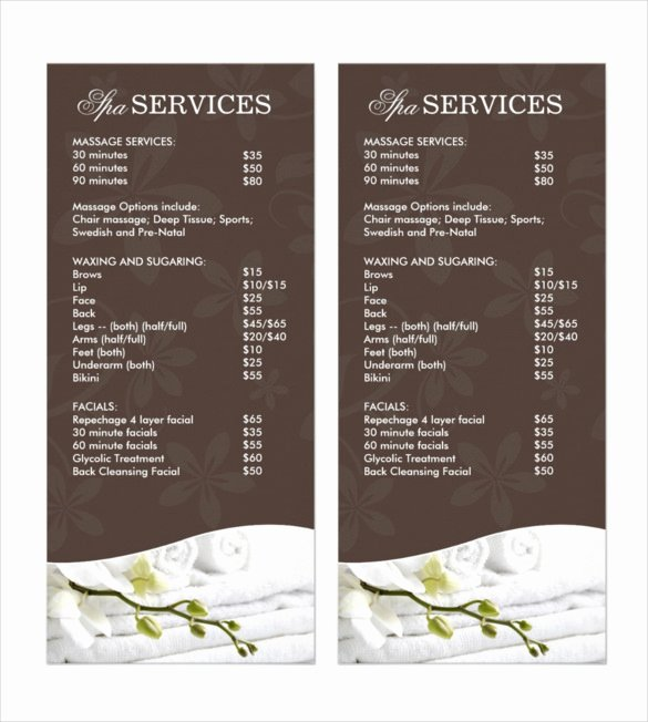 24 Spa Menu Templates – Free Sample Example format