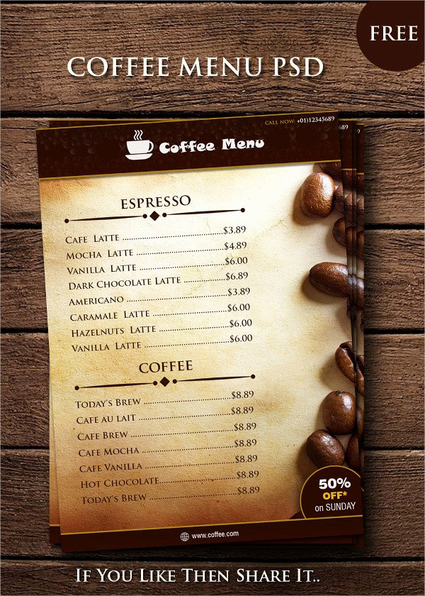 25 Coffee Menu Templates Free & Premium Download