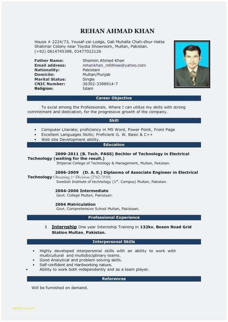 25 Concept Sample Resume for Internship In Mechanical
