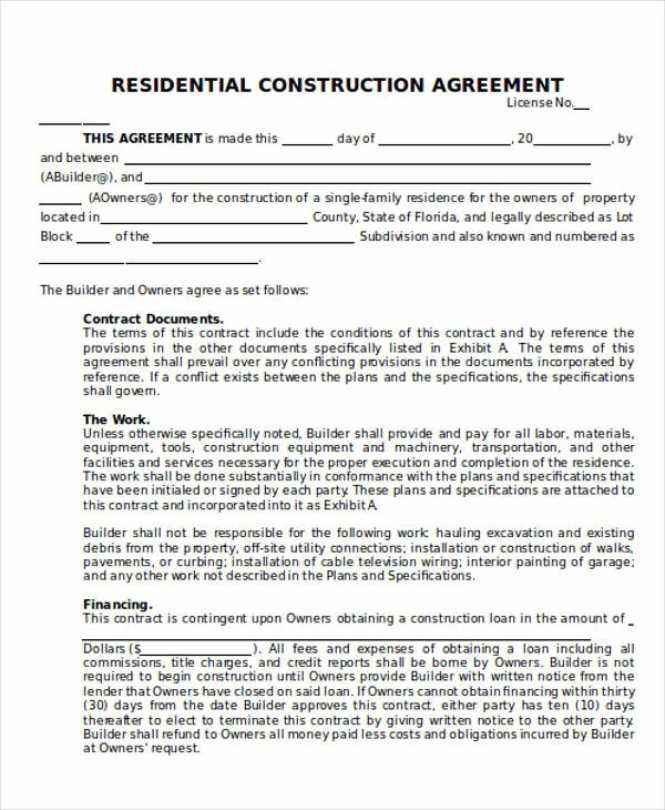 25 Construction Agreement forms & Templates