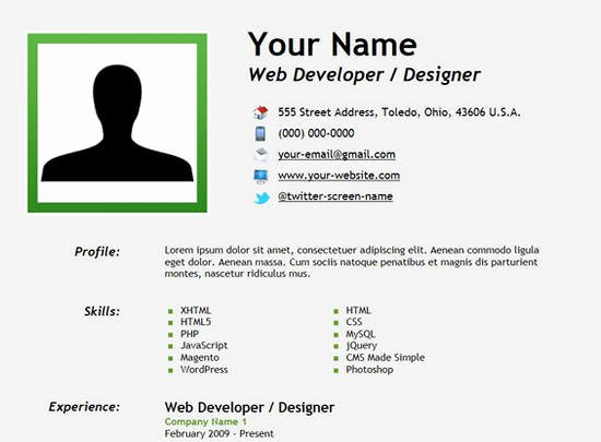 25 Free HTML Resume Templates for Your Successful Line