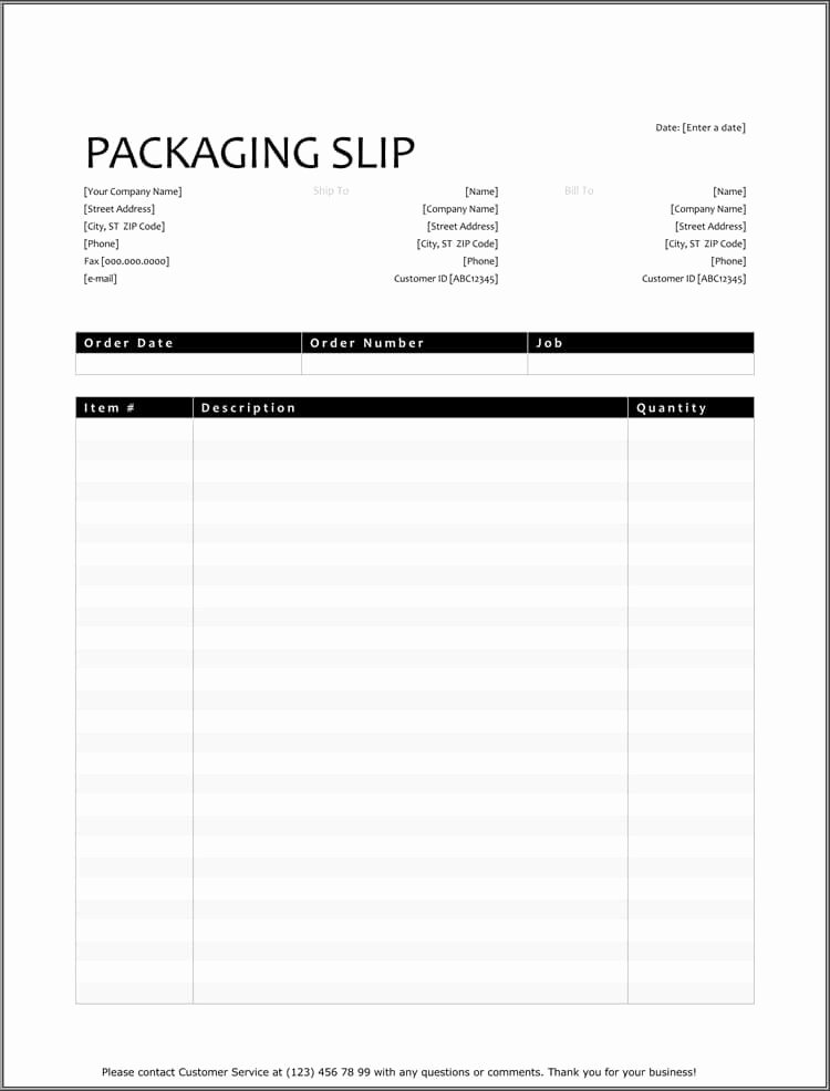 25 Free Shipping & Packing Slip Templates for Word & Excel
