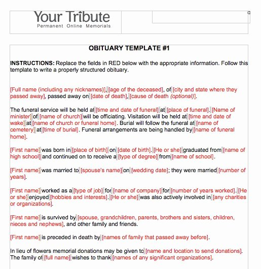 25 Obituary Templates and Samples Template Lab