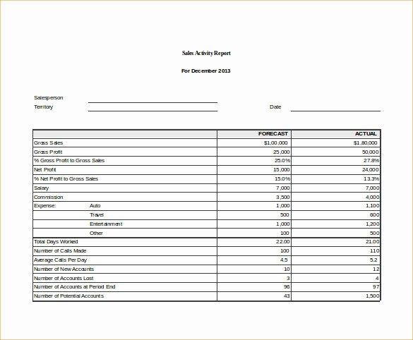 25 Sales Activity Report Templates Word Excel Pdf