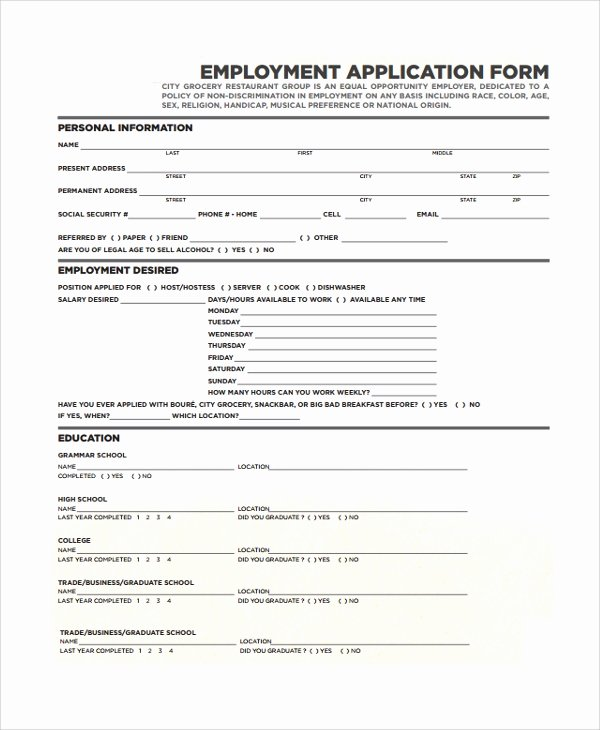 25 Sample Job Application forms