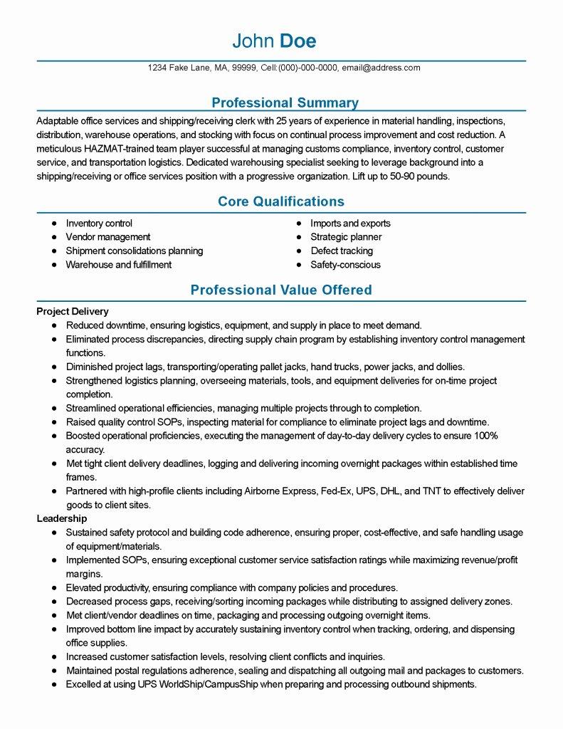 25 Shipping Clerk Resume