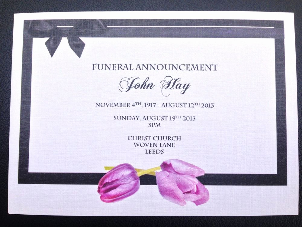 25 X Personalised Funeral Announcement Invitation Cards