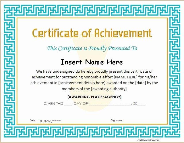 26 Achievement Certificates for 2018