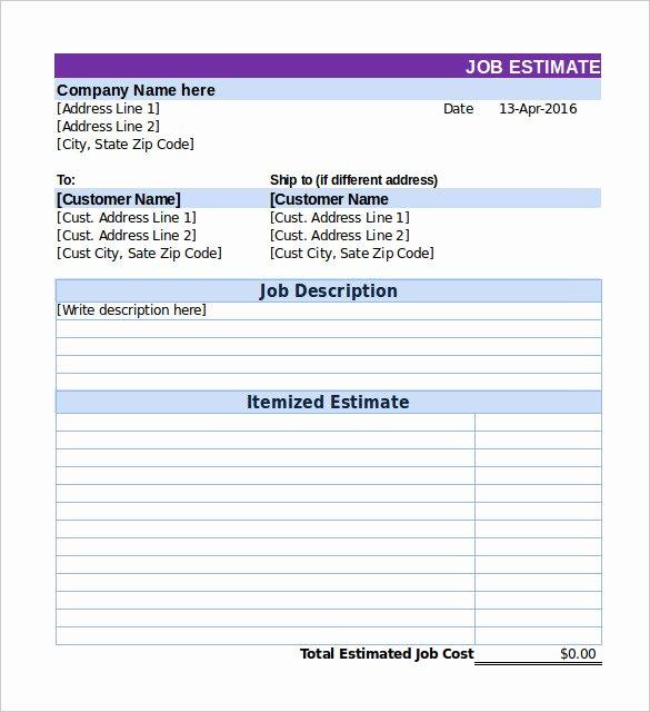 26 Blank Estimate Templates Pdf Doc Excel Odt