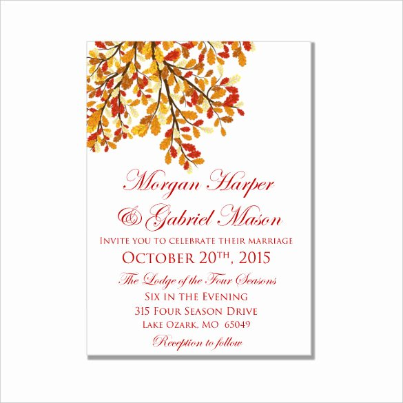 26 Fall Wedding Invitation Templates – Free Sample