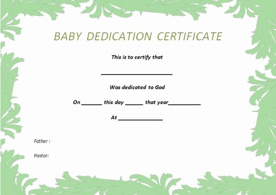 26 Free Fillable Baby Dedication Certificates In Word