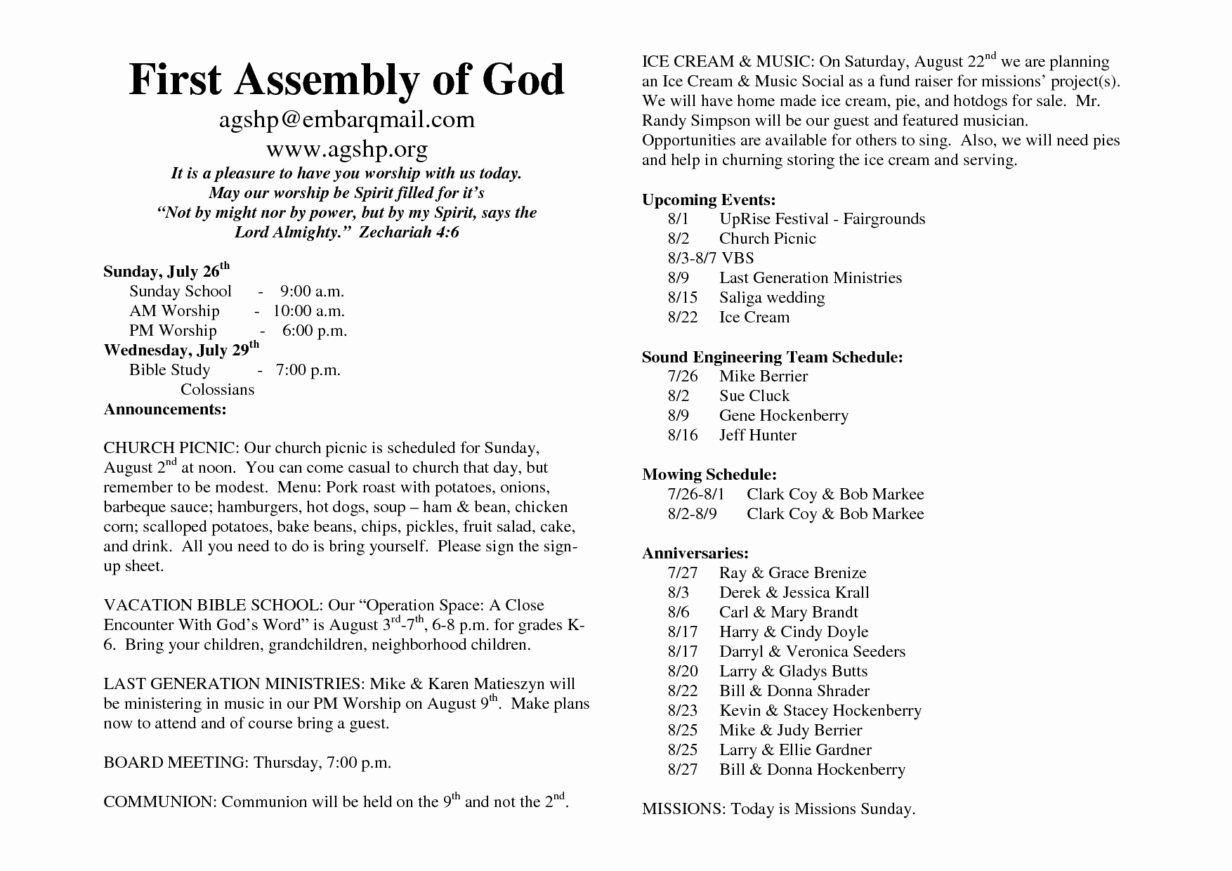 26 Of Church Bulletin Template Microsoft Word