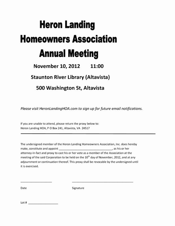 26 Of Homeowners association Proxy form Template