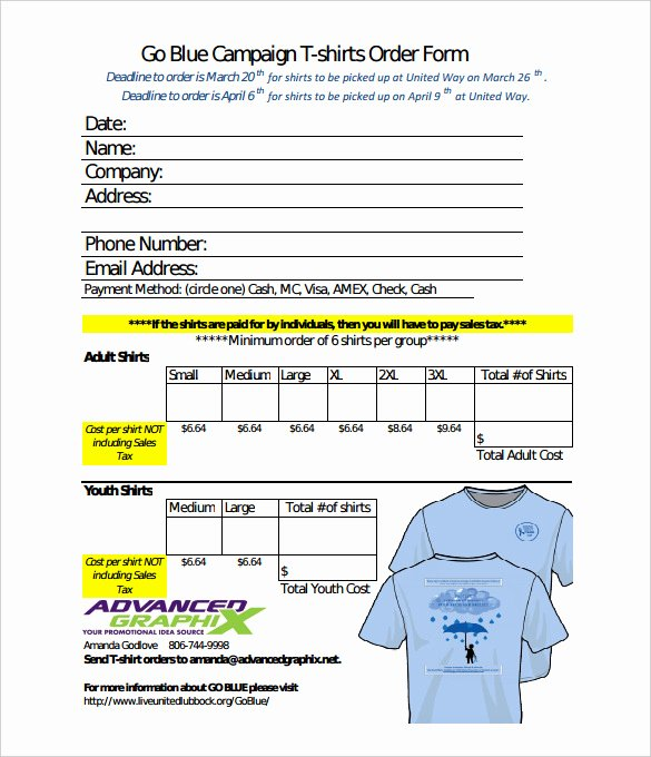26 T Shirt order form Templates Pdf Doc