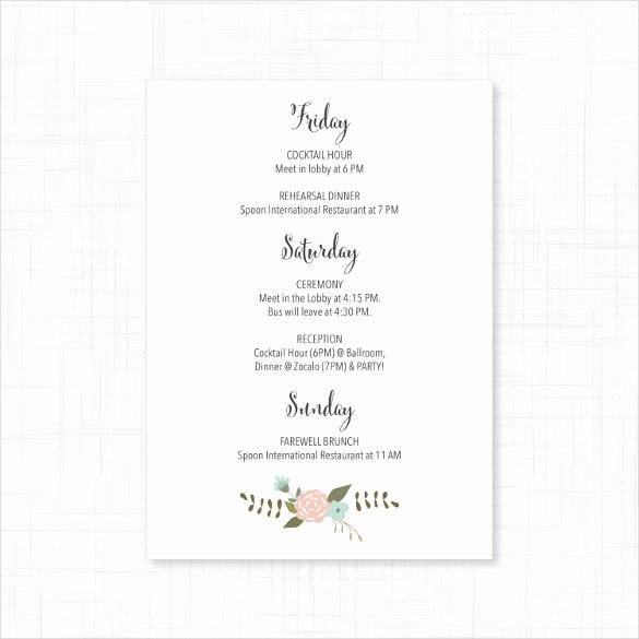 26 Wedding Itinerary Templates – Free Sample Example