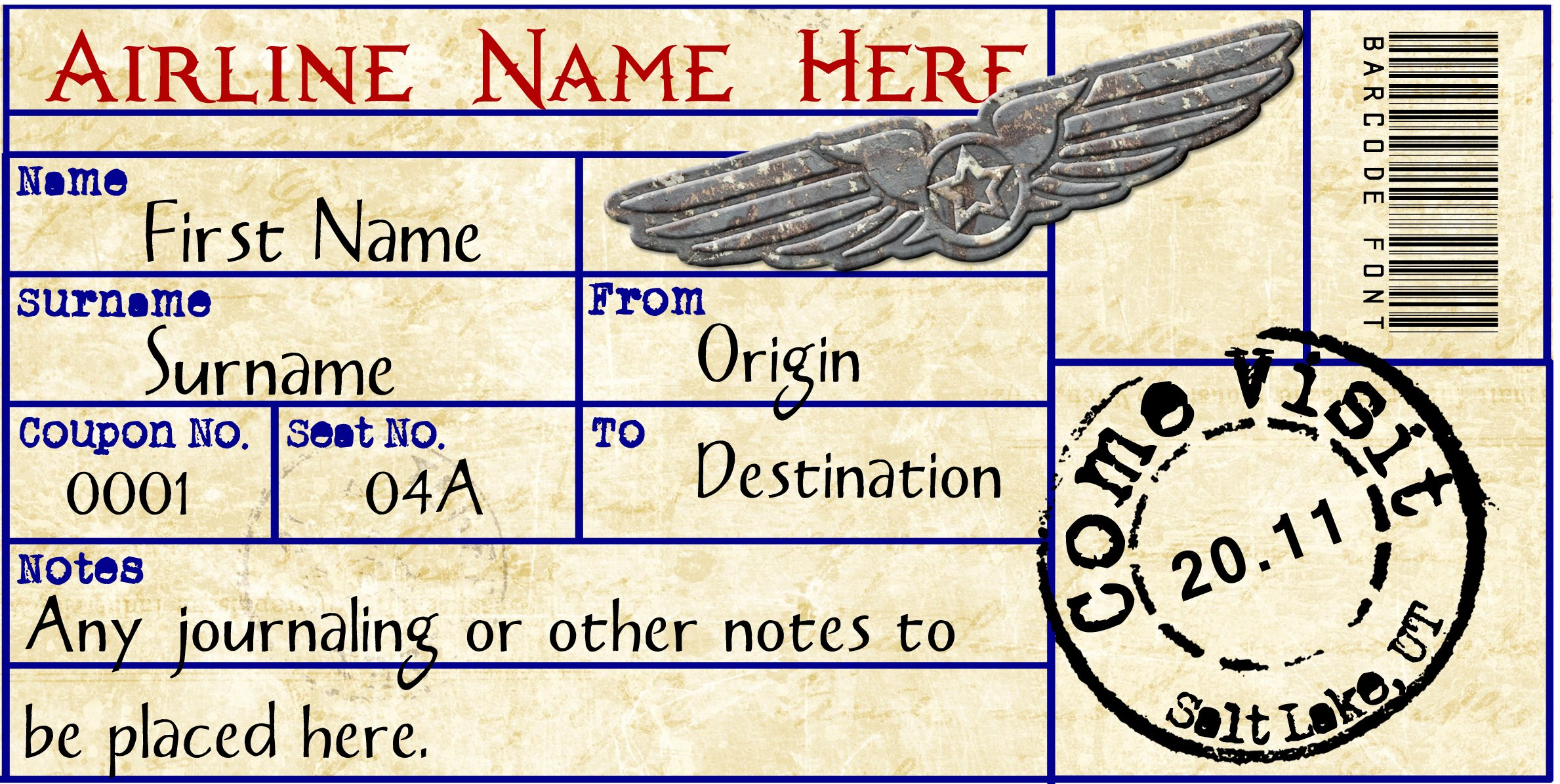 27 Best Airline Boarding Pass Ticket Template Examples