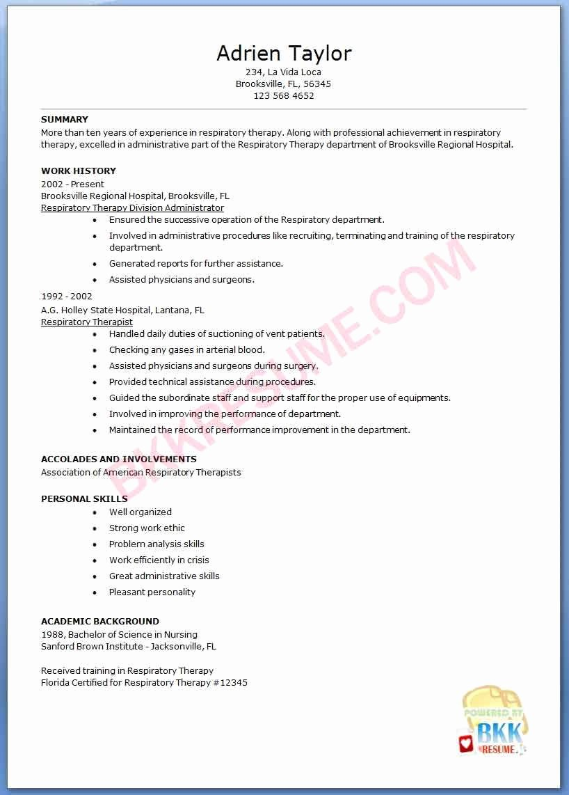 27 Expert Respiratory therapist Resume It E