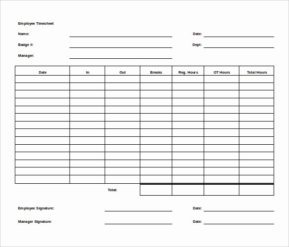27 Ms Word Timesheet Templates Free Download