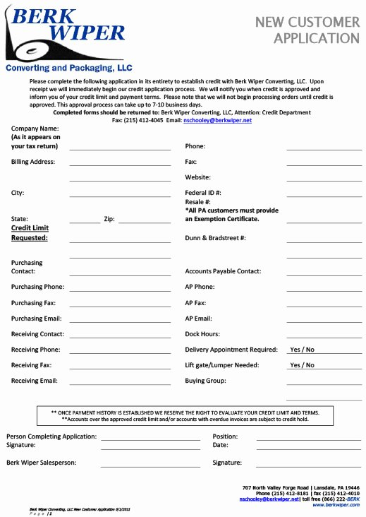 27 Of New Customer Application form Template