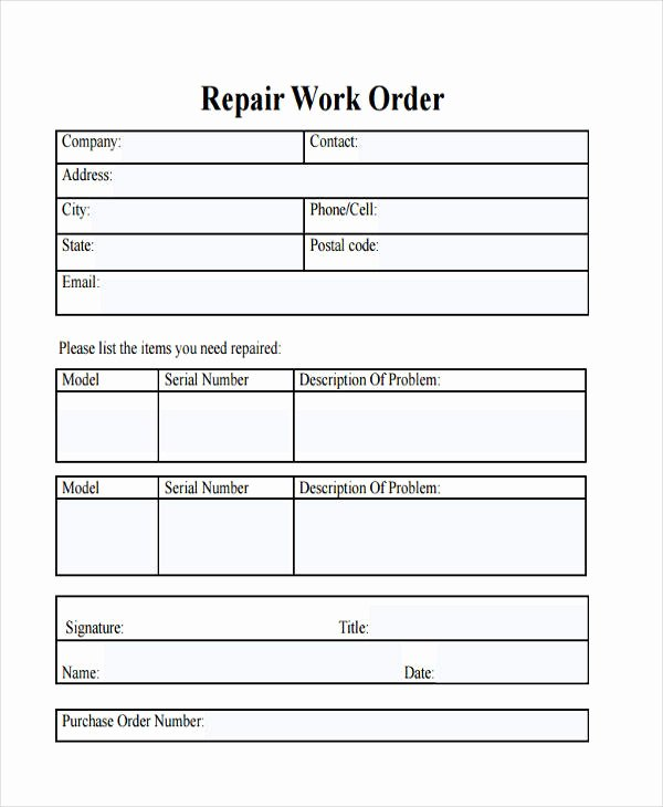 27 Work order Templates