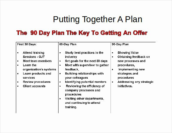 28 30 60 90 Day Plan Templates Pdf Doc