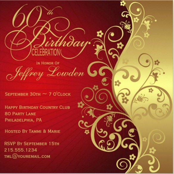 28 60th Birthday Invitation Templates Psd Vector Eps