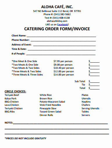 28 Catering Invoice Templates Free Download Demplates