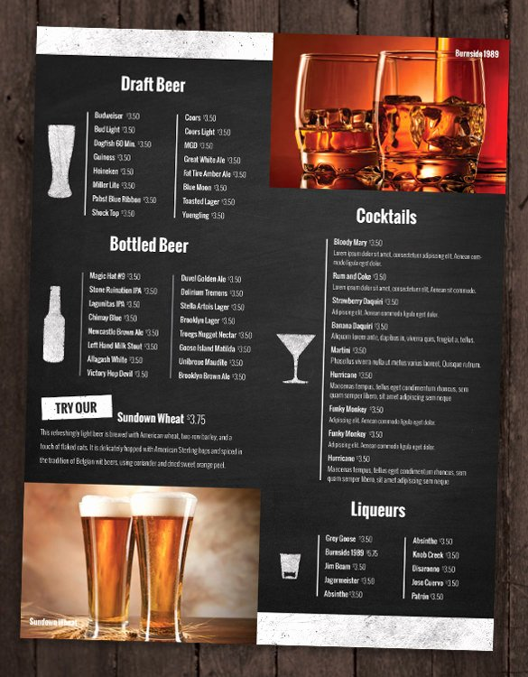 28 Drink Menu Templates – Free Sample Example format