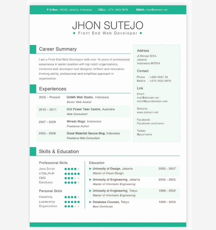 28 Free Cv Resume Templates HTML Psd & Indesign