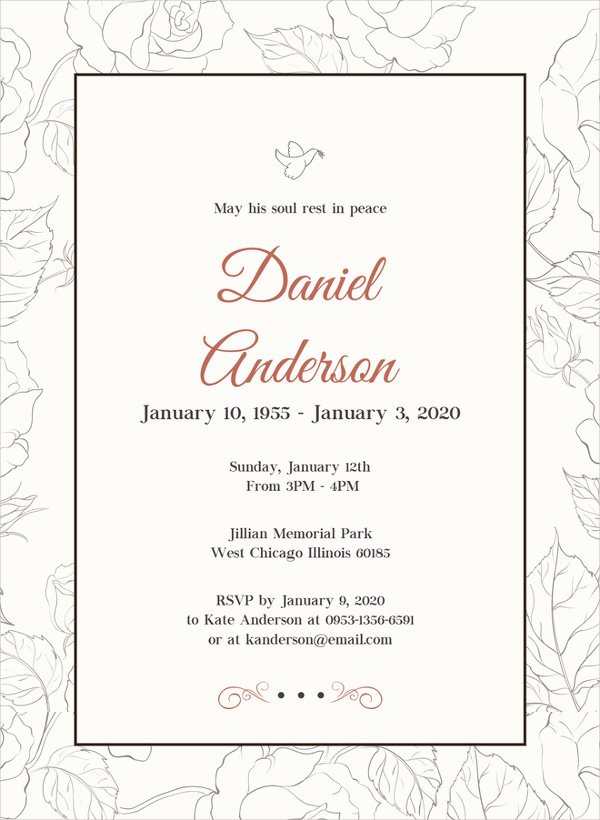28 Funeral Invitation Templates Psd Ai