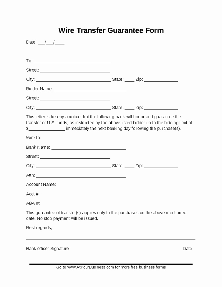 28 Of Ach Wire Transfer form Template