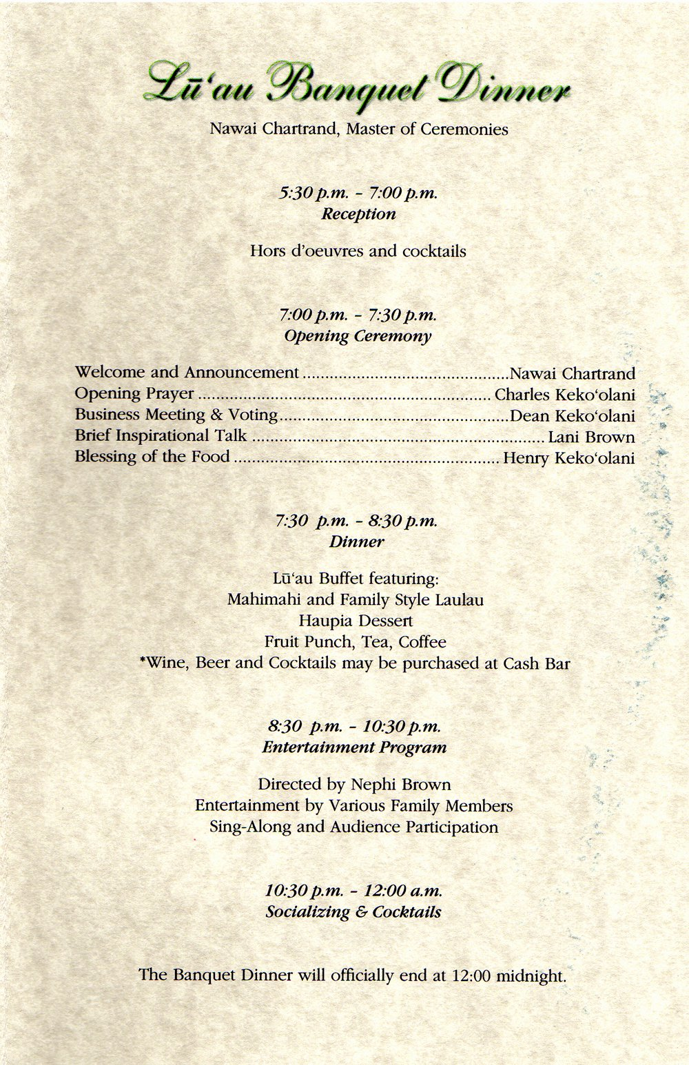28 Of Family Reunion Banquet Program Template