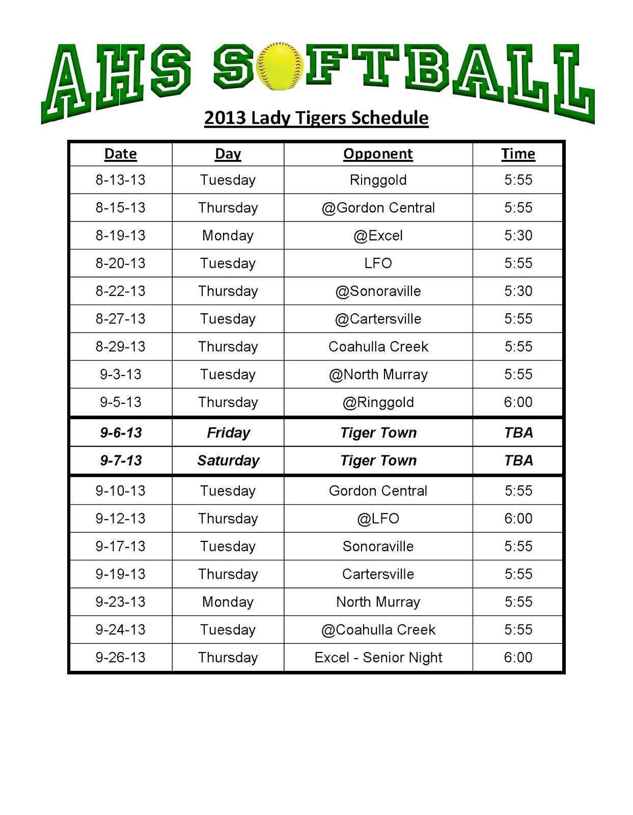 28 Of Template Game Schedule