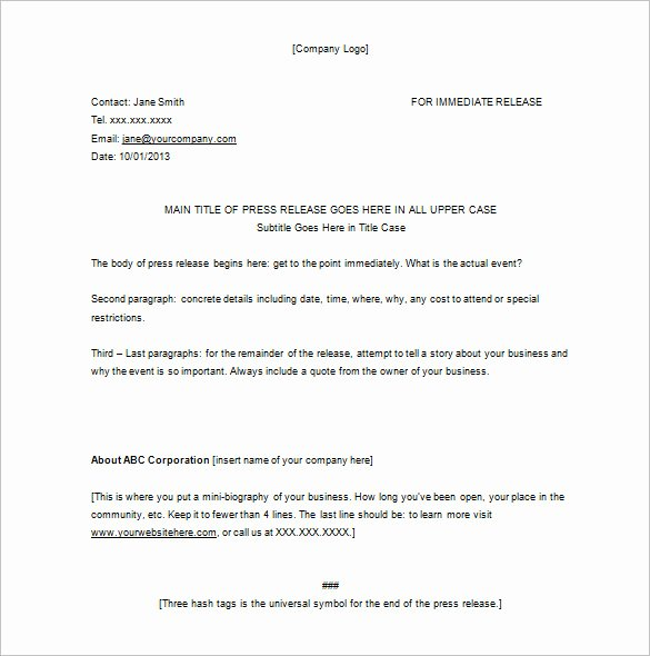 28 Press Release Template Word Excel Pdf
