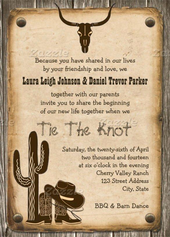 sample western wedding invitation