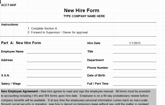 29 Of New Hire Authorization form Template
