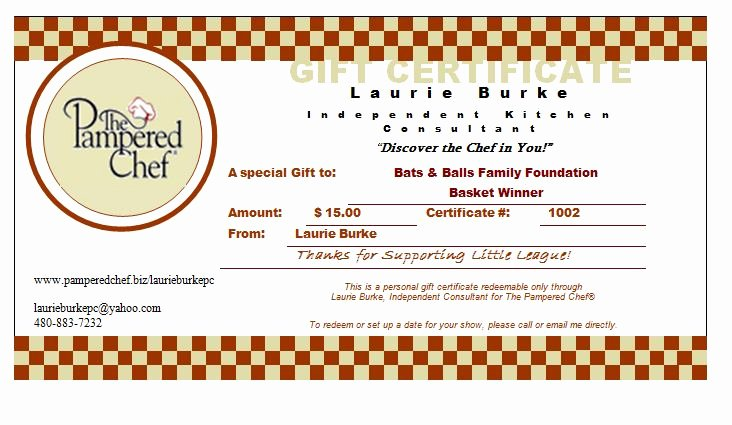 29 Of Pampered Chef Gift Certificate Template