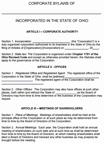 29 Of Sample bylaws Template Ohio