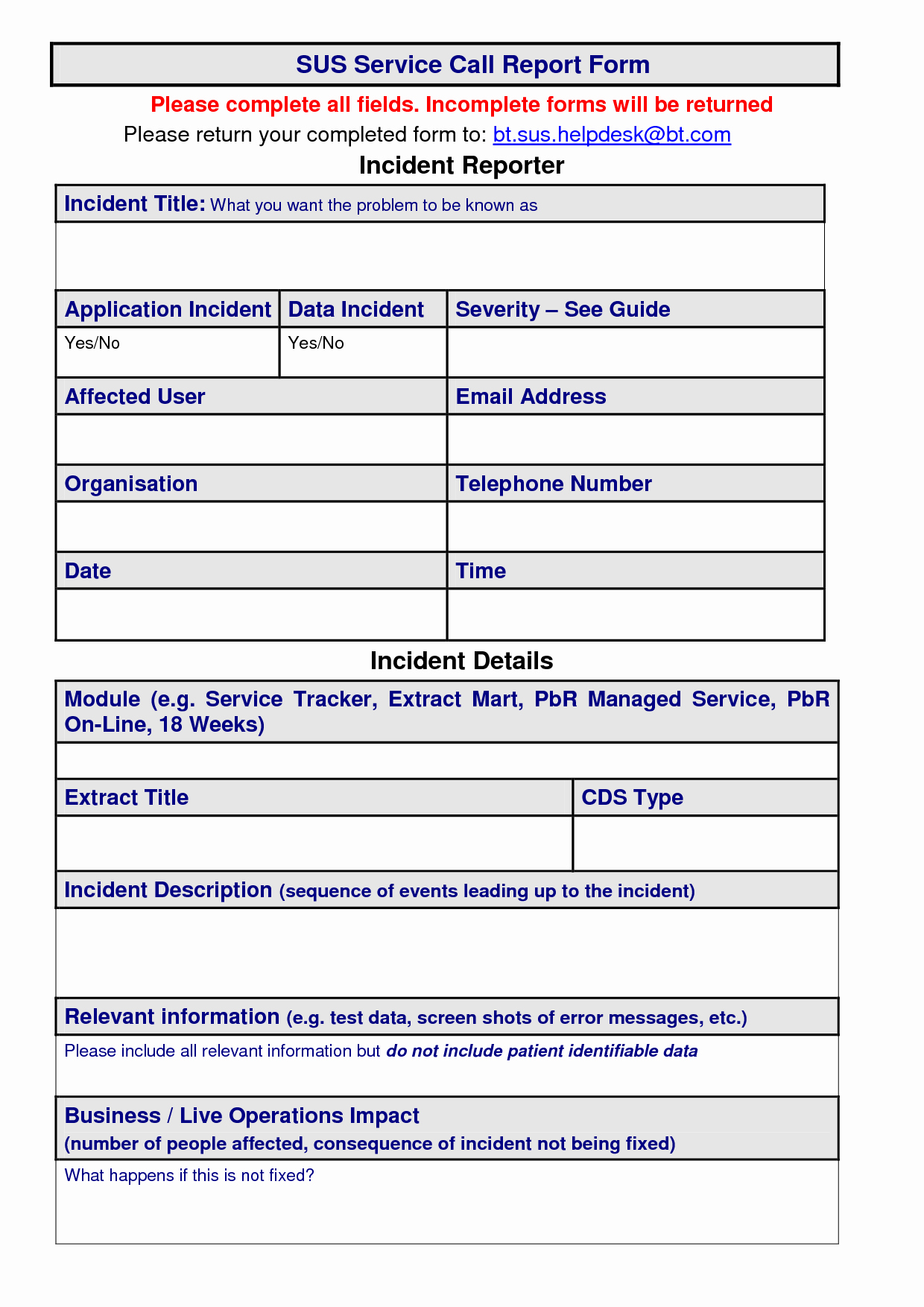 29 Of Service Call Report Excel Template