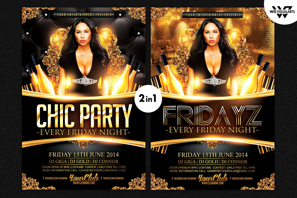 2in1 Chic Party Flyer Template Flyer Templates On