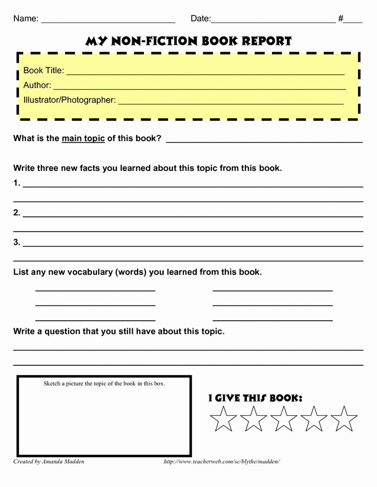 2nd grade biography book report form