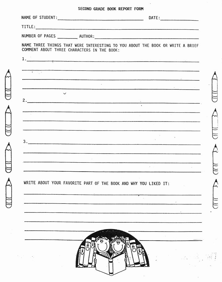 2nd Grade Book Report Worksheets Elementary School