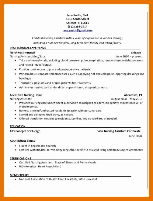 3 4 Cna Resume Sample