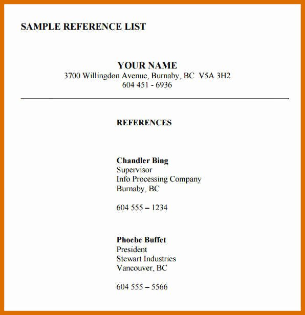 3 4 Reference List Template