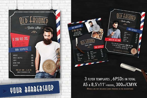 3 Barber Shop Flyer Templates Flyer Templates Creative